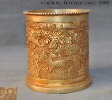 China dynasty Bronze 24k gold Gilt Crane bird deer Brush pot pencil vase statue