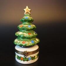 "Vintage Limoges Charmart Decor Main ""Merry Christmas"" Tree Trinket Box Signed"