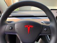 """2 x Tesla Model 3 Steering Wheel """"T"""" Logo Decal"""