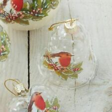 GG Xmas - Clear Bell With Robin Christmas Bauble by Gisela Graham