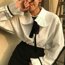 Women Pleated Shirt Frill Ruffle Blouse Top Peter Pan Collar Vintage Lolita NR9