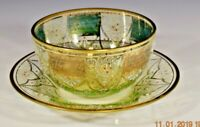 Moser finger bowl green/clear/gold  matching under plate  enameled  deco c1900
