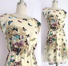 Summer Lady's Chiffon Sleeveless Floral Butterfly Print Sundress Mini Dresses FW