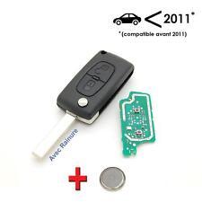 Clé avec électronique à programmer Citroen C2 C3 C4 C5 2 bouton avec rainure