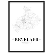 JUNIWORDS Stadtposter, Kevelaer, Weiß, Kunstdruck Plan Map
