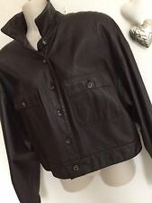 Liz Claiborne 'Lizsport' Vintage Leather Bomber Jacket Brown Size M Immaculate