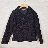Desigual Womens Jacket Black Brown Animal Print Size 38 Small