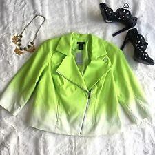 Lane Bryant Lime Green White 14 SIde Zip Fully Lined NWT Jacket MSRP $90