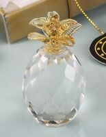 Choice Clear Crystal Pineapple With Gold Leaf Detail Ornament Gift