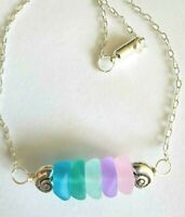Sea glass jewelry PASTEL RAINBOW Beach Glass Bar nuggets, handcrafted Necklace