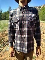 Vintage PENDLETON Pure Virgin Wool Flannel Plaid Shirt SZ LARGE Gray Brown