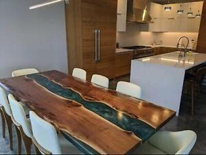 Unique River Epoxy Olive Wood Resin Solid Walnut Cafeteria Decors Made To Order