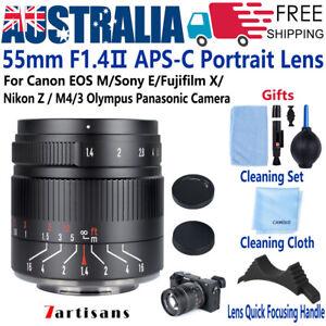 7artisans 55mm F1.4 Ⅱ Lens for Fujifilm X Sony E Canon EOS EF M Nikon Z M4/3 CAM