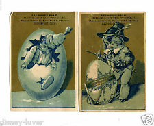 Vintage Trade Card pair OZONE SOAP Bridgeport CT Boys with giant eggs