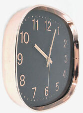 Retro ROSE GOLD / COPPER Wall Clock, Black face,Copper Coloured numbers,New