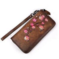 Genuine Leather Women Long Wallet Flower ID Cards Wrist Handy Bag Money Purse