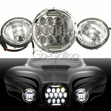 """7"""" LED Projector Round Headlight & Passing Lights Fit Harley Davidson Touring"""