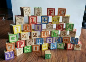 39 Wooden Children's Building Blocks Alphabet Letters Numbers ABCs