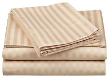 1000TC Egyptian Cotton 1pc  FITTED SHEET Sateen Taupe Stripe