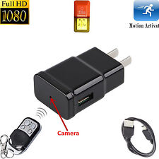 Mini 1080P HD Spy DVR Hidden Camera USB USA Plug VCR Wireless Remote Control Cam