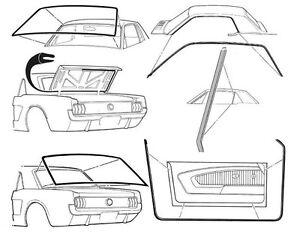 Mustang Rubber Kit Weatherstrips Door Screen Seals 1964 1965 1966 64 65 66 Coupe