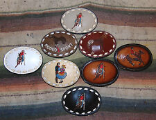 Vintage Tony Lama Assorted Buckstitch Rodeo Leather Belt Buckles Lot Of 8 NEW