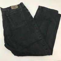 Wrangler Denim Jeans Mens 44X32 Black Straight Leg 100% Cotton Wash Zip Closure