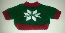 Snowflake Green & Red  LARGE Knit Teddy Bear / doll Sweater Clothing Clothes
