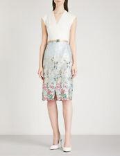 TED BAKER Macal Patchwork wrap dress floral print belt midi pencil wedding 0 6
