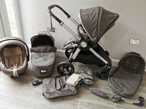 Mamas and Papas Ocarro pram - Chestnut Tweed 3 in 1 with bag footmuff parasol