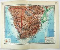 Southern Africa - Original 1937 Map by Brockhaus. Rhodesia. Vintage German Map
