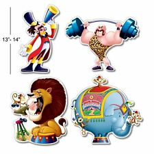 "4 CIRCUS 13-14"" CUTOUT DECORATIONS Clown Big Top Party Decorations 54338"