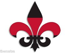"4"" FLEUR DE LIS RED LINE FIRE HELMET BUMPER EMBLEM DECAL STICKER MADE IN USA"