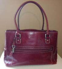 FOSSIL - Vintage Large Tote Handbag Purse Leather Red Burgundy Key Charm ZB 2783