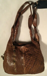 Langellotti Hobo Brown Woven Leather Bag Handbag Made In Italy NWT MSRP$380.00