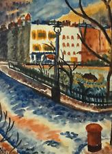 IAIN MACNAB (1890 - 1967) SIGNED IMPRESSIONIST WATERCOLOUR,  TOWN SQUARE