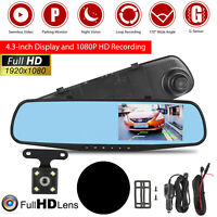 1080P Rearview Mirror Car DVR Dual Dash Cam Camera Front Rear HD Video Recorder