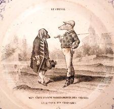 """Charmante assiette, faïence fine de Montereau à décor humoristique: """"Le Cheval""""."""