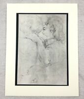 1920 Antique Old Master Print Rubens Portrait Drawings of Male Head Study