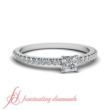 Princess Cut Diamond Floating Thin Round Accented Womens Engagement Ring 0.90 Ct