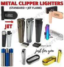 More details for metal clipper lighters set various colors gift case box gas refillable flint uk