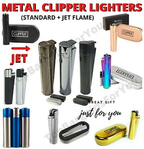 METAL CLIPPER LIGHTERS SET WINDPROOF VARIOUS COLORS GIFT CASE JET GAS REFILLABLE
