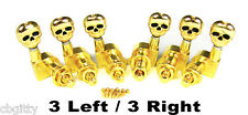 Gold Skull Electric Guitar Tuners/Machine Heads: 6pcs. 3 Left/3 Right