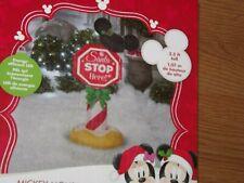 Disney Mickey Ears Christmas Stop Sign INFLATABLE  3.5 ' high LED LIGHT