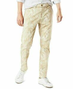 DOCKERS Alpha Khaki Beige Leaf Print Slim Fit 360 Flex Chino Pants NEW