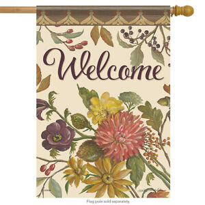 """Autumn Hues Welcome House Flag Floral Fall Flower Double Sided 28""""  x 40"""""""