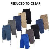 Mens Cargo Shorts Slim Fit Cotton Summer Casual Combat Half Pants Sizes 30 - 38