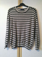 M&S Ladies Grey Striped Pure Cashmere Jewel Embellished Jumper Size 12 BNWOT