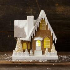Lighted Snowy Brown Mica Glitter Putz House  Christmas Village House