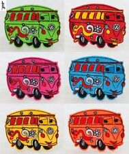 6PCS School Bus Embroidered Cloth Iron On Patches Sewing Fabric Motif Appliques